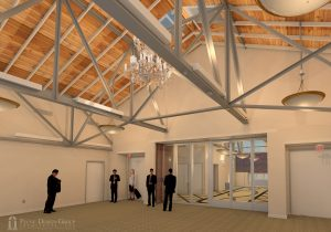 Artist rendering of the new building's reception and lobby area