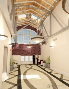 Artist rendering of the new building's south corridor to lobby