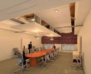 Artist rendering of the new building's board room