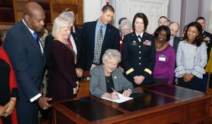Governor Kay Ivey signs Veterans Day proclamation and executive order.