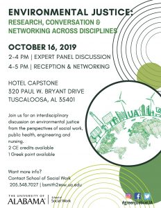 A graphic provides details of an on-campus panel discussion