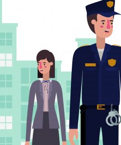 A graphic representation of a male police officer and female social worker