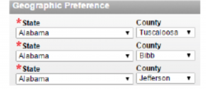select geographic preferences